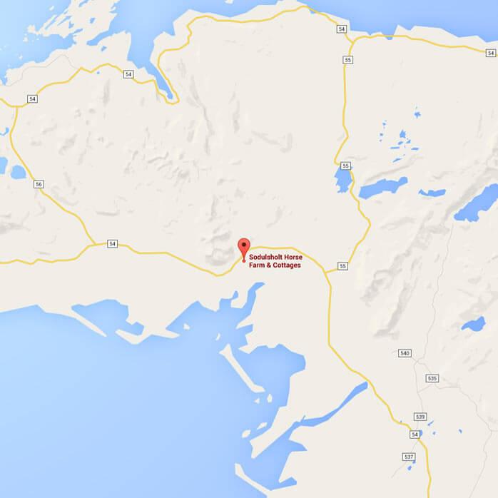 Söðulsholt Cottages Location map